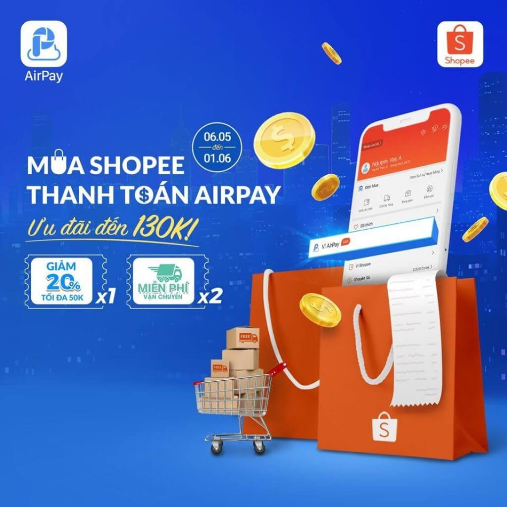 Airpay là ví điện tử liên kết và sử dụng trực tiếp cùng Shopee