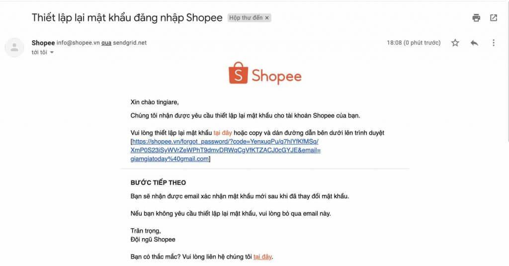 email mat khau shopee