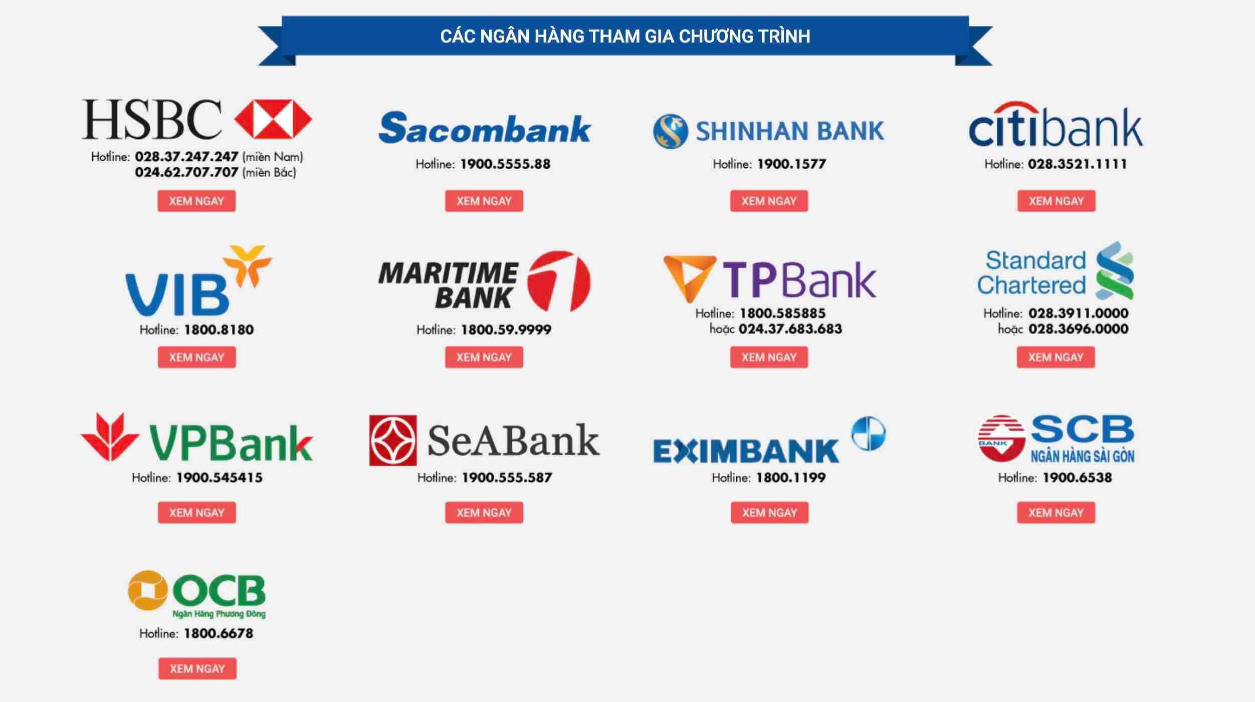 Các ngân hàng liên kết thẻ tín dụng với Tiki để thực hiện dịch vụ trả góp khi mua hàng